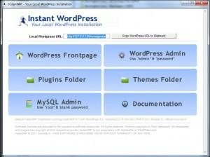 Tableau de bord instant wordpress : environnement de développement wordpress