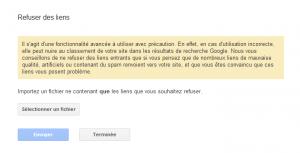 Etape 2 : refuser des liens entrants dans google webmaster tools