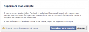 1ere etape de suppression de compte facebook